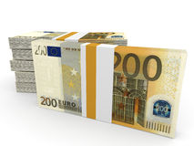 Stacks of money. Two hundred euros. 3D illustration Royalty Free Stock Photography