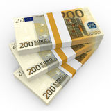 Stacks of money. Two hundred euros. 3D illustration Stock Photography