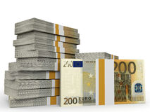 Stacks of money. Two hundred euros. 3D illustration Stock Images
