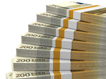 Stacks of money. Two hundred euros. 3D illustration royalty free illustration
