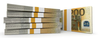 Stacks of money. Two hundred euros. 3D illustration Stock Photo