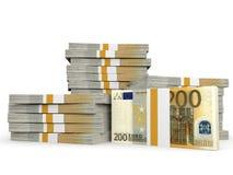 Stacks of money. Two hundred euros. Stock Photos