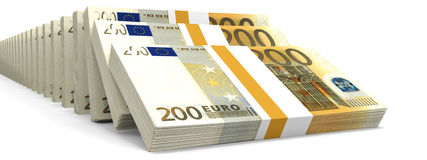 Stacks of money. Two hundred euros. 3D illustration Royalty Free Stock Image