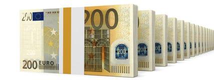 Stacks of money. Two hundred euros. Stock Images