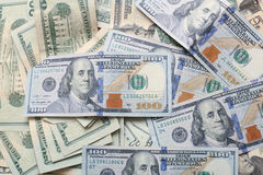 Stacks of money. Stacks of US currency in big pile Royalty Free Stock Images