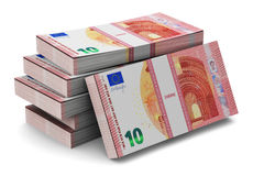 Stacks of new 10 Euro banknotes. Creative abstract banking, money making and business success financial concept: heap of stacks of new 10 Euro banknotes isolated Stock Illustration