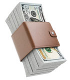 Stacks of new one hundred dollars banknotes. In XXL wallet - 3D illustration Stock Photos