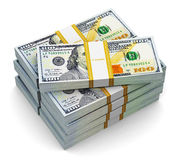Stacks of new 100 US dollar banknotes Royalty Free Stock Photos