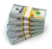 Stacks of new 100 US dollar banknotes Royalty Free Stock Image