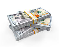 Stacks of New 100 US Dollar Banknotes. Isolated on white background. 3D render vector illustration