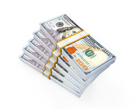 Stacks of New 100 US Dollar Banknotes. Isolated on white background. 3D render Royalty Free Stock Photography