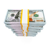 Stacks of New 100 US Dollar Banknotes. Isolated on white background. 3D render Stock Photos