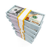 Stacks of New 100 US Dollar Banknotes. Isolated on white background. 3D render royalty free illustration