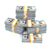 Stacks of New 100 US Dollar Banknotes. Isolated on white background. 3D render stock illustration