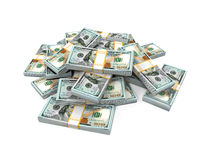 Stacks of New 100 US Dollar Banknotes. Isolated on white background. 3D render Stock Image