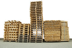 Stacks of New wooden pallets Royalty Free Stock Image
