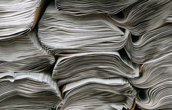 Stacks of Newspapers. Close up of three stacks of newspapers Royalty Free Stock Images