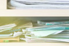 Stacks of notebooks and school supplies - mess Royalty Free Stock Photography