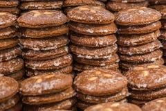 Stacks of Nuremberg gingerbread at the Christmas market. Close up Stock Photos