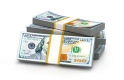 Stacks Of Money. New One Hundred Dollars. Stock Photo