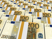 Stacks Of Money. Two Hundred Euros. Royalty Free Stock Photos