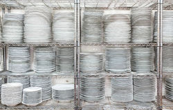 Stacks Of White Plates Stock Photography