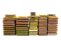 Stacks of old CPU chips and obsolete computer processors Stock Photo