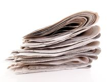 Stacks of old newspapers and magazines. Old newspapers and magazines in a pile Royalty Free Stock Photos