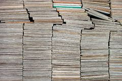 Stacks of old paper diapositive slides stock image