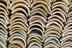 Stacks of old roof tiles Royalty Free Stock Photography