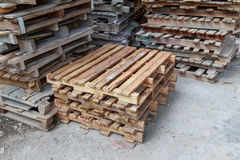 Stacks of old wood pallets Stock Image