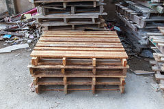 Stacks of old wood pallets Royalty Free Stock Photos