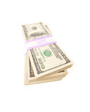 Stacks of One Hundred Dollar Bills. Stacks of Two Thousand Dollar Piles of One Hundred Dollar Bills Isolated on a White Background Stock Photography