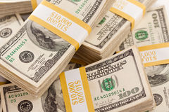 Stacks of One Hundred Dollar Bills Royalty Free Stock Photography
