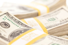 Stacks of One Hundred Dollar Bills Stock Images