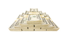 Stacks of One Hundred Dollar Bills on White Royalty Free Stock Images