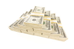 Stacks of One Hundred Dollar Bills on White Stock Photography