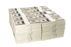 Stacks of one million US dollars in hundred dollar banknotes Royalty Free Stock Image