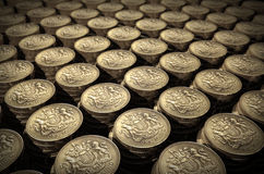 Stacks of one pound coins. Geometric stacks of one pound coins