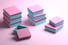 Stacks of packaging boxes in pink and blue colors. Many stacked packaging boxes in blue and pink colors for mock up or presentation. 3d illustration stock illustration