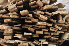 Stacks of packed lumber - slats - ready for sale to the final consumer royalty free stock images