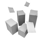 Stacks of paper. Illustration of huge stacks of paper sheets. Isolated on white background Royalty Free Stock Photos