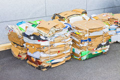 Stacks of paper and cardboard ready to be recycled Royalty Free Stock Images