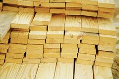 Planks of Wood on a Building Site Stock Photo