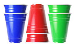 Stacks of Plastic Cups Stock Photography