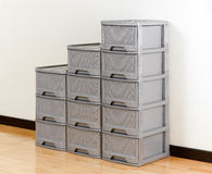 Stacks of plastic drawers Stock Images