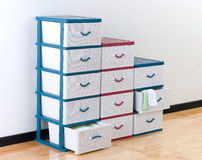 Stacks of plastic drawers Royalty Free Stock Images