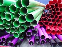 Stacks of plastic pipes Royalty Free Stock Photography
