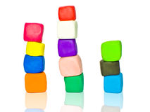 Stacks of plasticine blocks Royalty Free Stock Photos