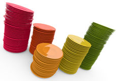 Stacks of plates. Colorful stacks of plates. 3D rendered illustration Royalty Free Stock Images